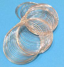 60 bobines de fil Mémoire Plaqué Argent Dia 55mm bracelet conclusions *** uk vendeur ***