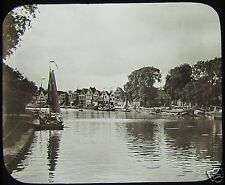 Glass Magic Lantern Slide HOORN C1890 NETHERLANDS CANAL PHOTO
