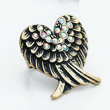 Vintage Style Colorful Crystal Freedom Angel Wings Ring Size Adjustable
