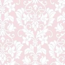 Wallpaper White Floral Heart Damask on Soft Pink Background
