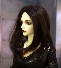 "1/3 bjd 8-9"" doll head natural black synthetic mohair wig Luts Iplehouse W-JD078"