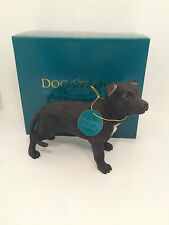 Black Staffordshire Bull Terrier Dog Studies Leonardo Figurine *BRAND NEW BOXED*
