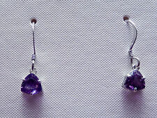 Amethyst  Earrings 6x6mm Faceted Trillions Dangles /Sterling Silver Ear Wire