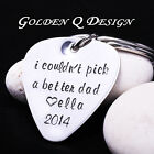 Stainless Steel Personalised Guitar Pick Any Words Keyring Fathers Day Gift D151