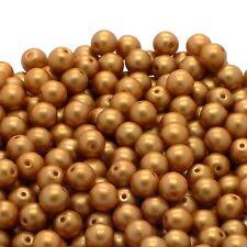 Pastel Beads Round Czech Glass 4mm - Amber - 50pk