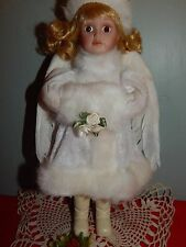 """Porcelain Angel Doll 10"""" Blond Girl Brown Eyes w Feather Wings EUC"""