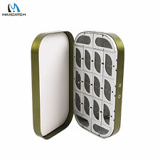 Aluminum Fly Box Fly Fishing Tackle Box Dark Green Lure Box 16 Compartments