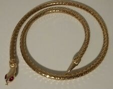 WHITING DAVIS STYLE GOLD MESH METAL SERPENT SNAKE BELT NECKLACE RED JEWEL EYES 1