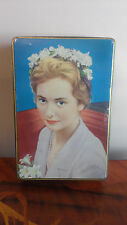 Antique Chocolate Tin young Queen Paola Belgian jaques candy box rare