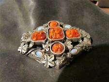 Fabulous Vintage Rare Quality Miracle Faux Coral & Opal Brooch, Signed