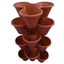 6 X Strawberry Planter Trio Pot Stacking Flower Garden Terracotta Trendy Brown
