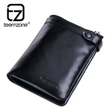 Mens Gents Leather Bifold Zipper Wallet Money Clip Credit Card Holder Black