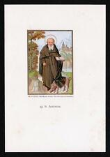 HL. Antonio il Grande St. Anthony the Great - 19.jh. Goldprint S. Antonio Abate