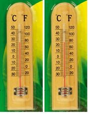 "2BEAUTIFULL WOODEN THERMOMETER12""30cm OUTDOOR INDOOR GREENHOUSES CONSERVATORIES"