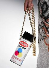Runway MOSCHINO Couture 'Spray Paint Can' Leather Crossbody Chain Clutch Bag