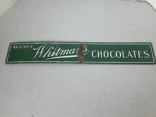 ANTIQUE WHITMANS CHOCOLATE CANDY porcelain Vintage Sign whitman's chocolates
