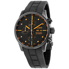 Mido Multifort Automatic Chronograph Black Dial Black Rubber Strap Mens Watch
