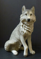 "DAKOTA  Large Sitting Wolf  Statue Figurine  H21"" x L15.25"" x W10.5"""
