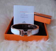 NIB Authentic Hermes H Clic Clac White Enamel Rose Gold Bangle Bracelet size pm