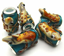 5PCS Silver Lampwork Glass Frog Animals Beads fit European Charm Bracelet ZXY018