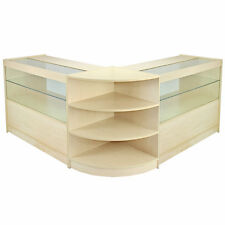 Orion Maple Shop Counter & Retail Display Set Storage Cabinet Glass Corner Shelf
