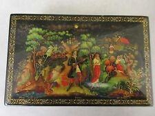 Vintage USSR Russian hand painted papier mache lacquer box, Palekh hinged signed