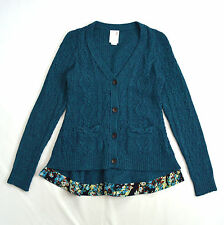 Blue Green Wool Cable Knit FAR AWAY FROM CLOSE Anthropologie Cardigan Sweater S