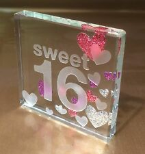 Happy 16th Birthday Gift Ideas Spaceform Sweet Sixteen Glass Token Keepsake 1495