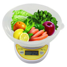 Compact Digital Kitchen Scale Diet Food 5KG 11LBS x 1g w/ Bowl Electronic Weight