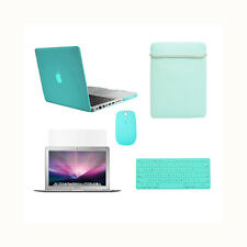 """5in1 Crystal TIFANY BLUE  Case for Macbook PRO 13""""+Keyboard Cover+LCD+Bag +Mouse"""