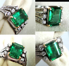 4.73 ctw colombian emerald 18k white gold diaomond ring angelina jolie style!!