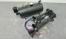 Quad 4 Air Train Horn Kit Semi Truck Boat BLACK Horns + 120 PSI Compressor 12v