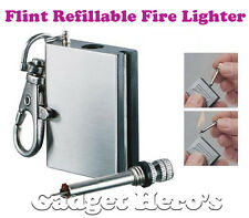 Flint Refillable Fire Lighter & Key-chain Worlds Smallest & Thinnest Matches Box
