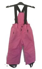 BNWT GIRLS WATERPROOF PINK BLACK SKI TROUSERS WITH STRETCH BRACERS AGE 4 YEARS
