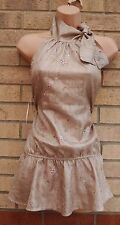PLASTIQUE BY LAURA WREN TAUPE GOLD TIE NECK PEPLUM FLORAL BLOUSE TUNIC TOP 10 S