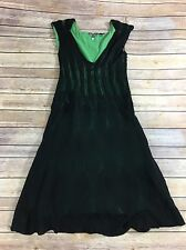 Knitted Knotted Anthropologie Sweater Dress Sz Xs Black Green Crinoline Pockets