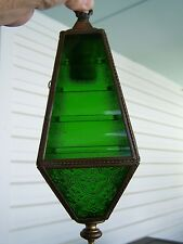 VINTAGE BRASS HANGING Wall Light GREEN GLASS Arts Crafts Mid Century RESTORE