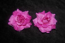 WEDDING BRIDAL BRIDESMAID DEEP PINK  LITTLE ROSE SHOE CLIPS