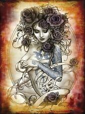 Tattoo Rose. Alchemy Gothic Sexy toppless woman Retro Girl Small Metal/Tin Sign
