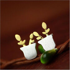 1Pair Women Potted Plants Earrings Cute Flowerpot Silver Ear Studs Jewelry