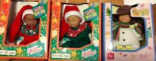 LOT OF 2 JOLLY DOLLY & 1 CHOU CHOU DOLLS BY ZAPH 4in TALL IN CHRISTMAS  OUTFITS