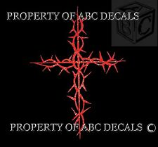 CROSS Christian Jesus Crown of Thorns Wall Decal Sticker GLITTER RED