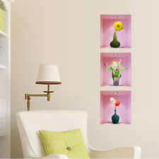 Removable 3D Flower Vase Mural Home Wall Sticker Decal Living Room Decoration
