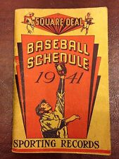 1941 Square Deal Baseball Schedule and Sporting Records Original