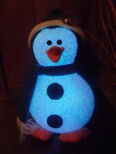 CHRISTMAS WINTER HOLIDAY COLOR SCARF LIGHTED PENGUIN HAT ICE SNOW GEL FIGURE 12""