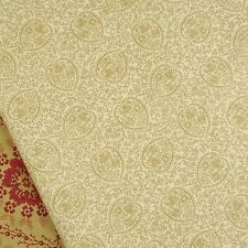 Moda, Midwinter Reds tan and cream paisley fabric / quilting vintage linen