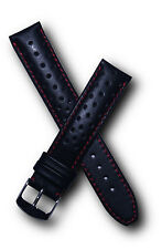 19 mm black/red leather watchband with pin buckle to fit  Heuer Carrera models