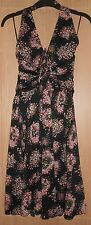BNWT MNG Suit Black & Pink Floral Detail Lined Halter Neck Dress size Medium