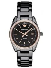 NEW EMPORIO ARMANI AR1496 CERAMICA BLACK BAND ROSE GOLD TOPRING WOMEN'S WATCH