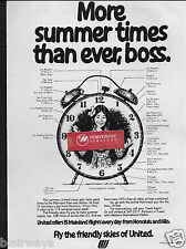 UNITED AIR LINES MORE SUMMER TIMES THAN EVER,BOSS HNL/HILO SCHEDULE 1977 AD